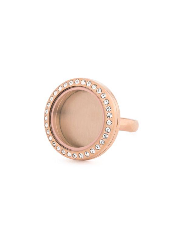 Rose Gold With Crystals Medium Locket Ring - Size 9