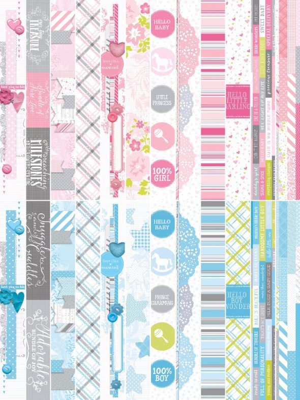 "Baby Bundle by Katie Pertiet 2 x 12"" Border Strips"
